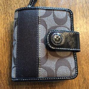 Coach dark brown signature wallet